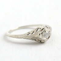 Antique 18k White Gold Art Deco Diamond Ring - Size 7 Vintage Filigree 1920s 1930s Solitaire 1/10 Carat Fine Jewelry