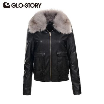 GLO-STORY Womens Fashion fur collar jacket coat 2017 Winter High Street black faux leather coat female PU leather outerwear 5067