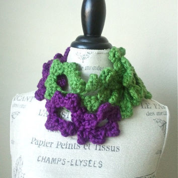 Ship from USA Hand Crochet Lace Floral ScarfLariat by SistersLace