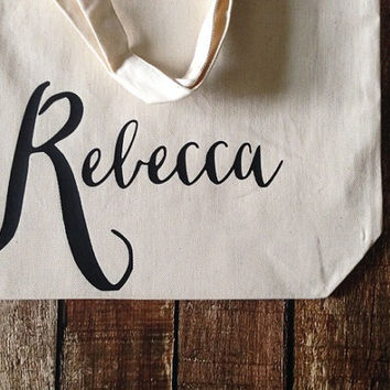 personalized bridesmaid gifts - personalized name canvas tote bag - customized bachelorette party gifts