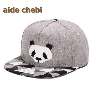 [aide chebi] fashion high-grade cotton cartoon hip-hop hat male Ms rubber perspective porch David Panda baseball hat snapback