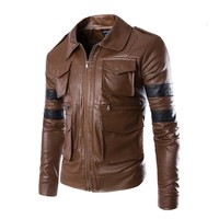 West Street Haku [2 COLORS] Men's Faux Leather Striped Motorcycle Jacket