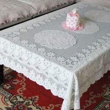 First Rate Large Luxury Crochet Tablecloth Rectangle Table Cover Embroidery = 1929817412