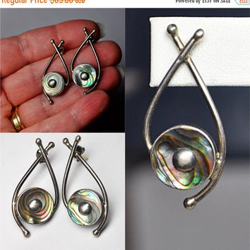 ON SALE Vintage SANDY Baker Sterling Silver and Abalone Modernist Pierced Earrings, Sculptural, Abstract, 14K Posts, Wearable Art! #b225
