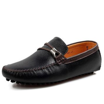 Asan men Italian shoes genuine leather loafers