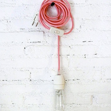 Textile cable lamp with switch and plug - pink