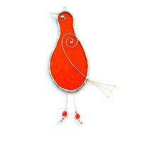 Orange Bird Suncatcher, Cute Stained Glass Window Decoration, Rustic Farmhouse Home or Patio Decor, Quirky Hostess Gift, New Home Present