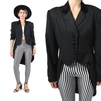 80s Long Tails Tuxedo Jacket Black Pinstripe Blazer Tailored Coat Steampunk Jacket Vintage Costume Fishtail Womens Long Blazer (M)