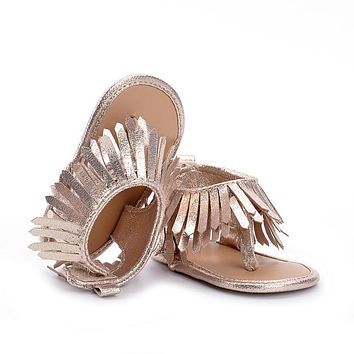 Hongteya New fashion spring tassel summer baby sandals baby moccasins shoes soft sole pu leather solid child girls boys sandals