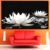 Lotus, Multi Panel, Flowers Wall Decor, BLACK AND WHITE Flowers,  Canvas Set of 5 or 3 or 1, Panels Wall Décor, Lotus Flowers Canvas Print