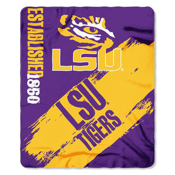 LSU Tigers NCAA Light Weight Fleece Blanket (Painted Series) (50inx60in)