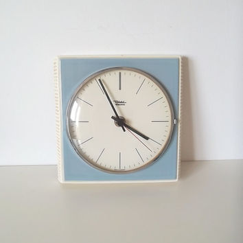 Wall clock, blue ceramic clock,1960s clock, retro clock, German clock, Diehl clock, West German ceramic clock
