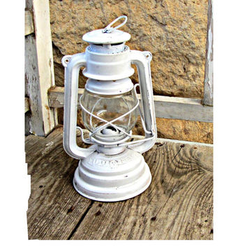 French country decor. Lantern vintage. White lantern. Oil lamp. Oil lantern. Kerosene lamp. Shabby chic lantern. Distressed.
