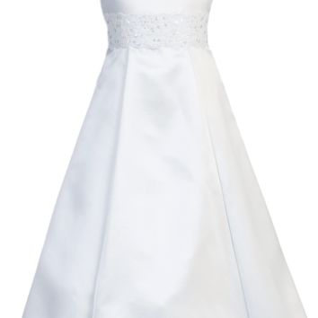 Satin A-Line Girls Communion Dress w. Lace Trim 7-14 & 8x-12x