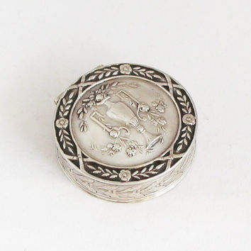 Vintage French Solid Silver Pill Box Snuff Box Art Nouveau Tobacco Box