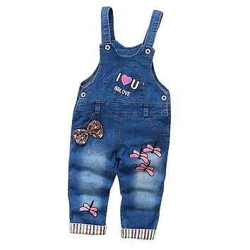 Baby Pants Girls Overalls Trousers Jeans Denim Jumpsuit Bib Pants Kids Spring Autumn Children Jeans Jumpsuits Clothes