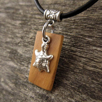 Tiny Turtle Pendant Necklace, Small Turtle Charm With Olive Wood Pendant And Leather Necklace