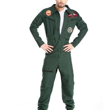MOONIGHT Hot Halloween Costumes Adult Mens Pilot Aviator Firefighter Costume Uniform Fancy Cosplay Costumes Clothing for Men