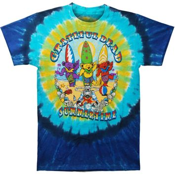 Grateful Dead Men's  Beach Bear Bingo Tie Dye T-shirt Multi