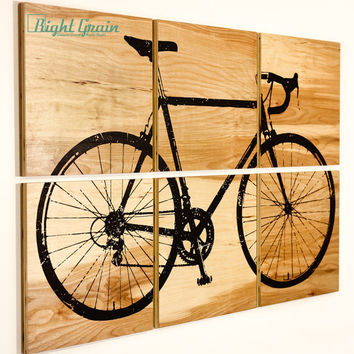 Large Wood Grain Road Bicycle Collection - Large Custom Wall Art - Perfect Gift