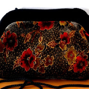 Velvet/grey/vibrant/red/orange/yellow/gold/meatallic/clasp/handbag