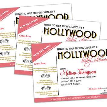 Pink Celebrity Baby Shower Invitation - Hollywood Baby Shower Invitations - Girl Baby Shower Invite - Movie Star Baby Shower - Red Carpet