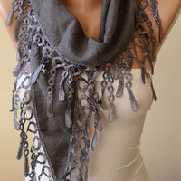 Trendy Scarf - Valentines Day - Pashmina Scarf in Gray with Trim Edge