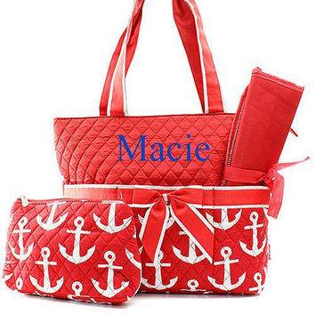 Monogrammed Red Anchor Diaper Bag  Pink Diaper Bag Monogrammed Diaper Bag  Personalized Diaper Bag
