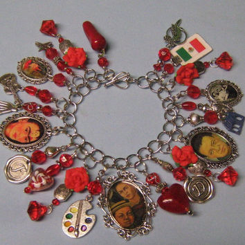 Frida & Diego -Frida Kahlo inspired  Altered Art Charm Bracelet-Diego Rivera