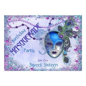 Sweet Sixteen Peacock Masquerade Party Invites