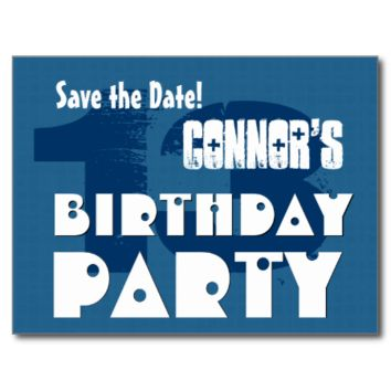 Modern Save the Date 13th Birthday Party V02B Post Cards