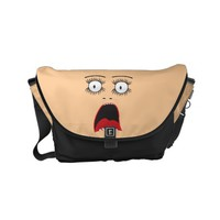 Funny Suprized lady face Small Messenger Bag