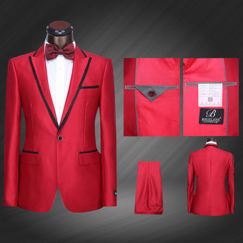 (Jacket+Pants+Bow Tie) Men Red Tuxedo Jacket Formal Wedding Suits Plus Size 2015 Fashion Business Dress Suits trajes de novio