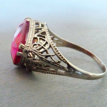Antique Ring Art Deco Filigree Pink Ruby Stone 10k white gold Vintage 1920s Fine Jewelry gift for her