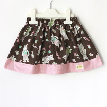 Gathered girl's skirt, brown and pink skirt, cat skirt, toddler skirt, baby skirt, tween skirt