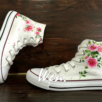 WEN Original Design Floral Converse Wedding Flowers Shoes Hand Painted Shoes,Custom Converse Chuck Taylor Canvas Shoes Christmas Gifts