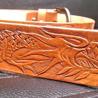 brown leather cowboy handmade dragon carved belt