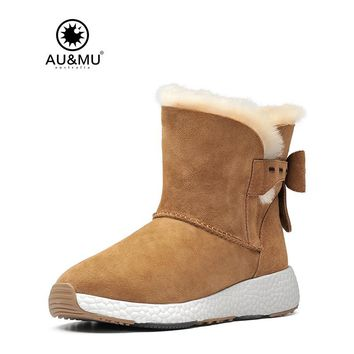 2017 AUMU Australia Womens Leather Fur Fashion Butterfly knot Snow Winter Boots UG NY093
