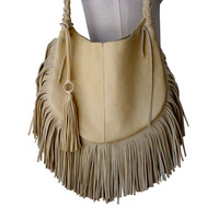Frangia leather hobo bag, palomino