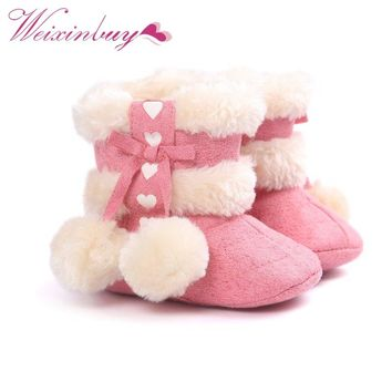 Winter Girls Soft Plush Booties Infant Anti Slip Snow Boots Shoes Warm Cute Snow Baby Girl Boots