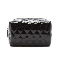 Quilted Faux Leather Makeup Pouch