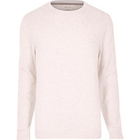 River Island MensGrey flecked knitted crew neck sweater