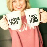 Love You More Ceramic Mug Set