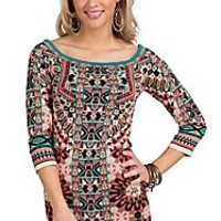Flying Tomato Women's Taupe Print Sweater Dress