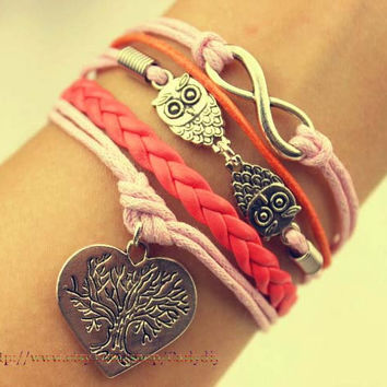 Infinity owl with heart-shaped peach bangle bracelets - hope that tree, the best gift of friendship
