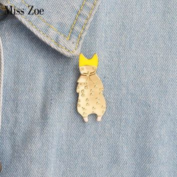 Miss Zoe Cute Girl Cat kitten ear Animal Brooch Button Pins Denim Jacket Pin Badge Cartoon jewelry Gift for Kids Daughter