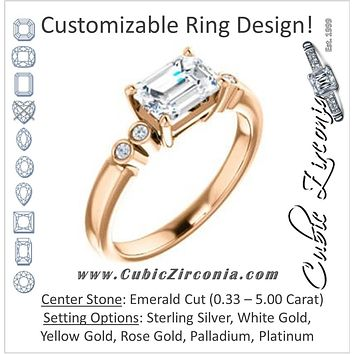 Cubic Zirconia Engagement Ring- The Luzella (Customizable 5-stone Design with Emerald Cut Center and Round Bezel Accents)