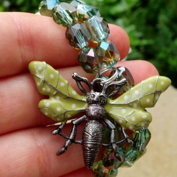 AB Sage Green Crystal Butterfly Charm Bracelet