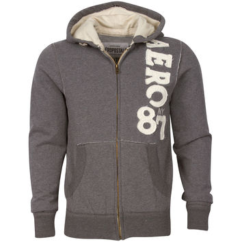 Aeropostale NY 87 Men Hoodie Grey Front Zipper