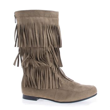 Starcy88A Taupe By Casual, Mid Calf Fringe Round Toe Moccasin Flat Boots